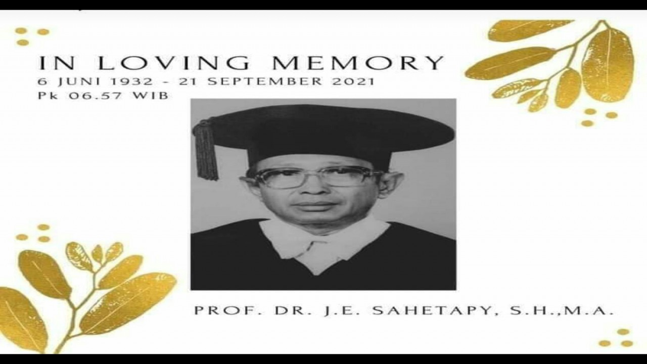 Prof JE Sahetapy dalam kenangan. (Net)
