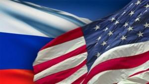 Ilustrasi bendera Rusia (kiri) dan bendera Amerika Serikat-1633515799